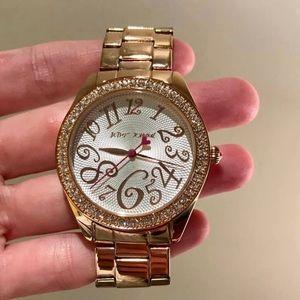 Betsey Johnson Crystal Rose Gold Bezel Watch